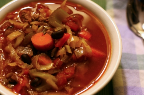 Cabbage soup with beef, vegetables, and black beans