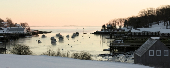Winter sunrise over the harbor
