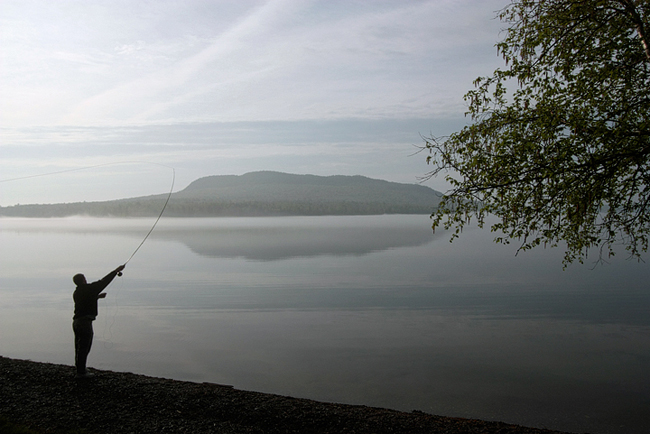 Fly fishing at Moosehead Lake, Maine