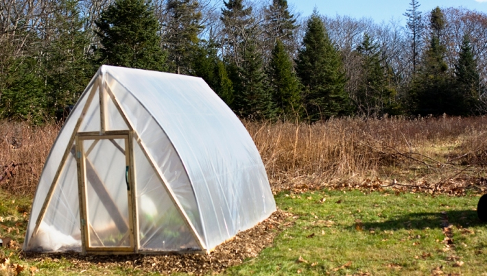 An inexpensive greenhouse for growing cool weather greens