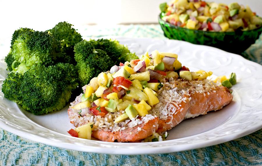 Coconut Salmon With Pineapple Mango Relish The Health Wish