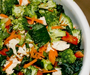 Power Vegetable Salad with broccoli, cauliflower, peppers, and kale